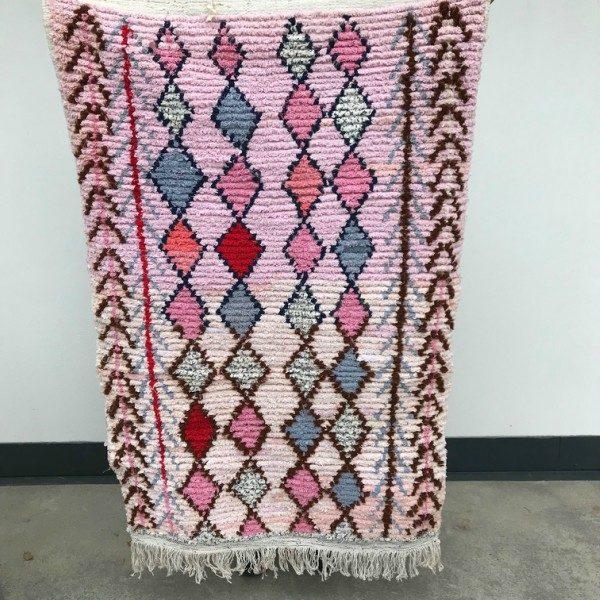 Nydelig boucherouite teppe i pasteller. Vevd for hånd i bomull.