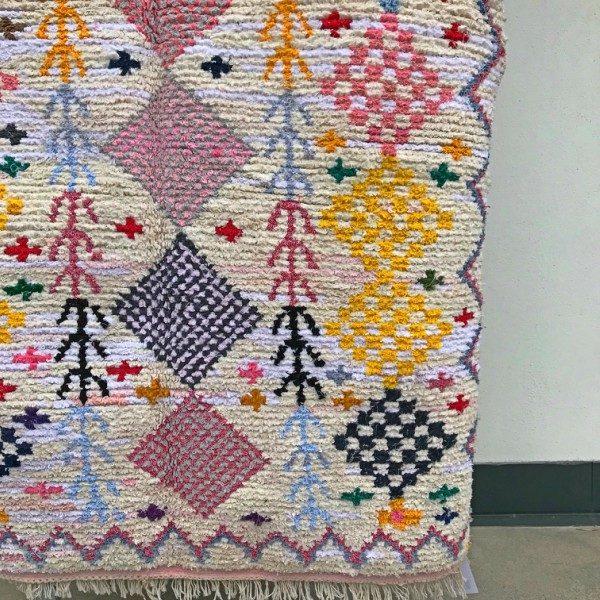 Boucherouite teppe i tykk bomull. Vevd for hånd i Marokko. Sarte pasteller.