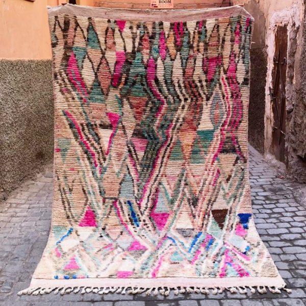 Nydelig vintage Bejaad teppe vevd for hånd i Marokko.