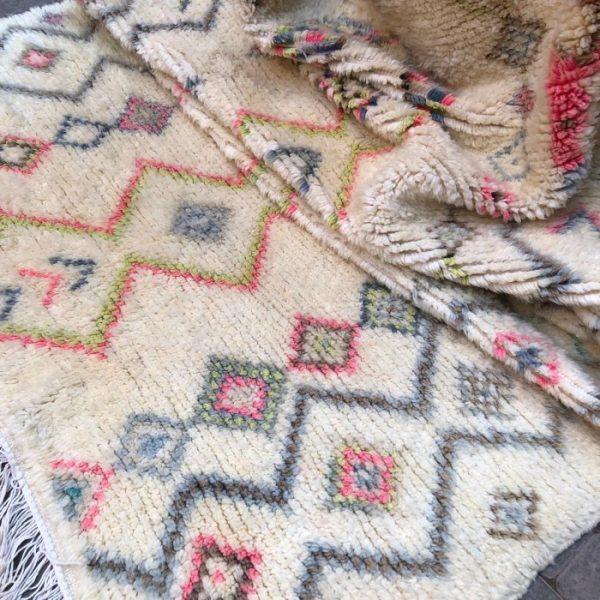 Ourika teppe 222 x 134 cm. Håndverk. Helt unikt.
