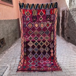 Bejaad teppe 235 x 118 cm, vevd for hånd i ull. Dette berberteppet er vintage og one of a kind!