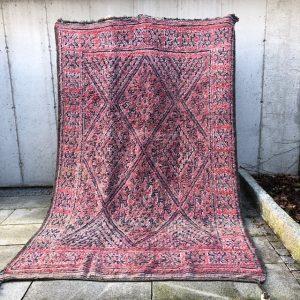 Nydelig Vintage Berber-teppe i rosa og blånyanser. Vevd for hånd i Marokko.